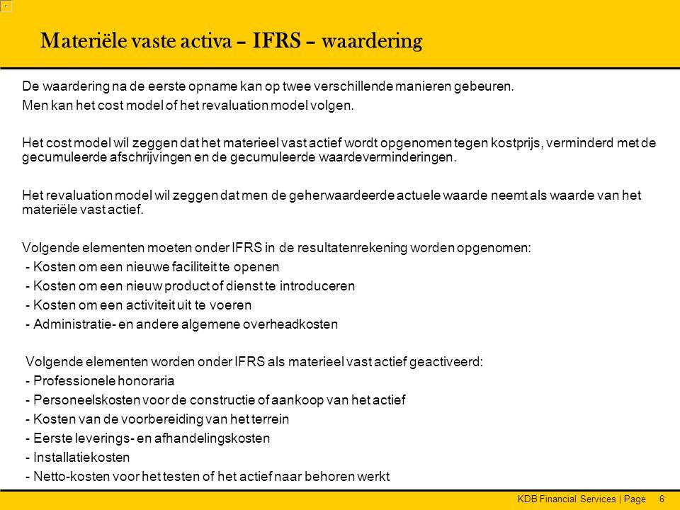 Materiële vaste activa – IFRS – waardering