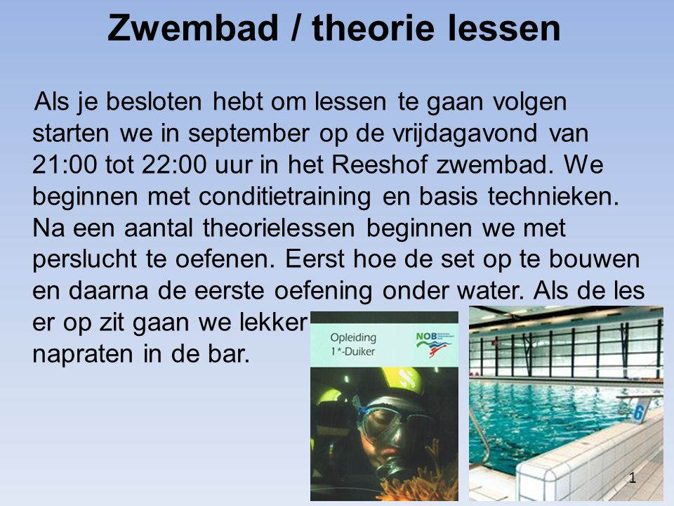 Zwembad / theorie lessen