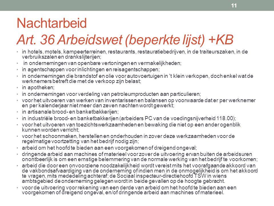 Nachtarbeid Art. 36 Arbeidswet (beperkte lijst) +KB