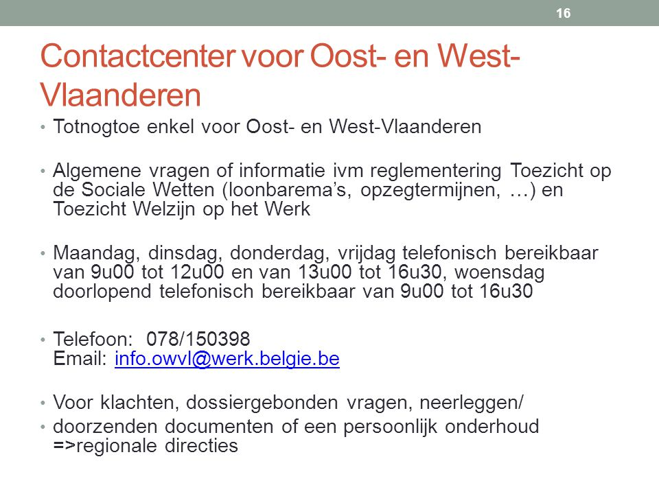 Contactcenter voor Oost- en West-Vlaanderen