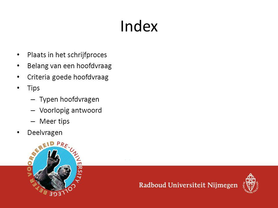Index Plaats in het schrijfproces Belang van een hoofdvraag