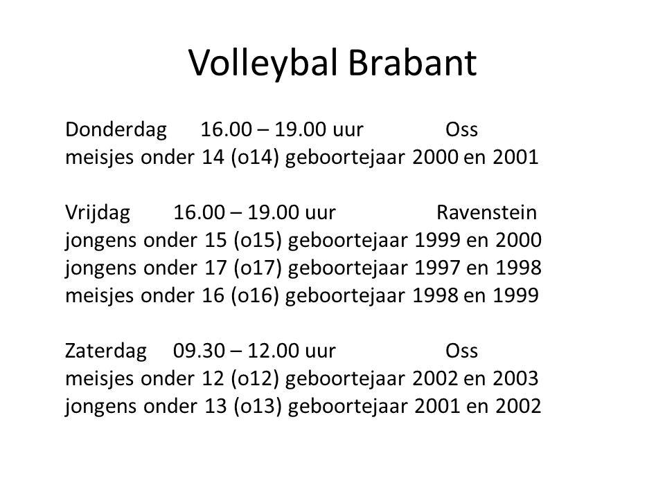 Volleybal Brabant Donderdag 16.00 – 19.00 uur Oss
