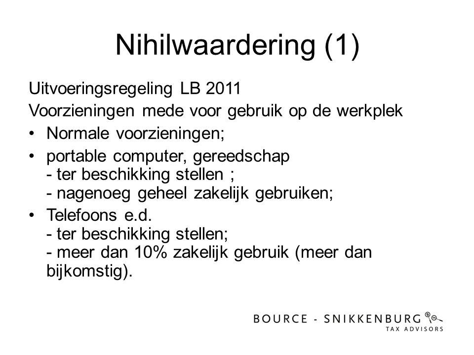Nihilwaardering (1) Uitvoeringsregeling LB 2011