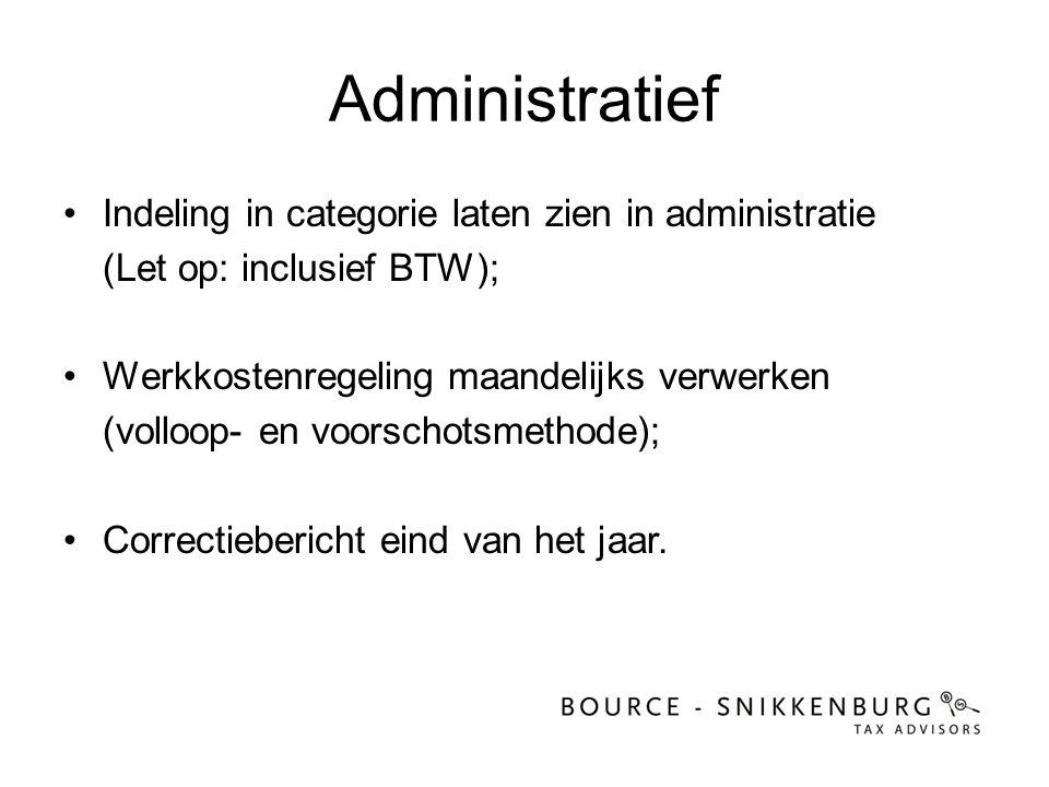 Administratief Indeling in categorie laten zien in administratie