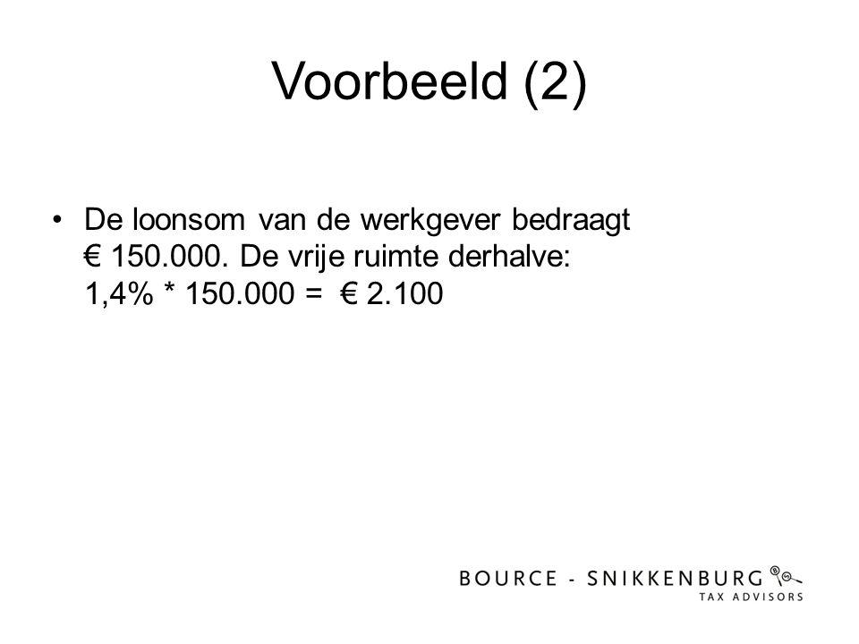 Voorbeeld (2) De loonsom van de werkgever bedraagt € 150.000.