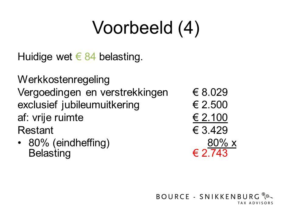 Voorbeeld (4) Huidige wet € 84 belasting. Werkkostenregeling