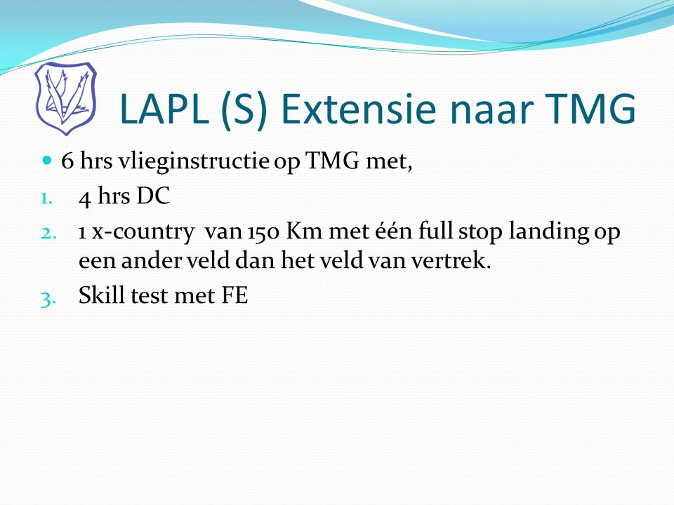 LAPL (S) Extensie naar TMG