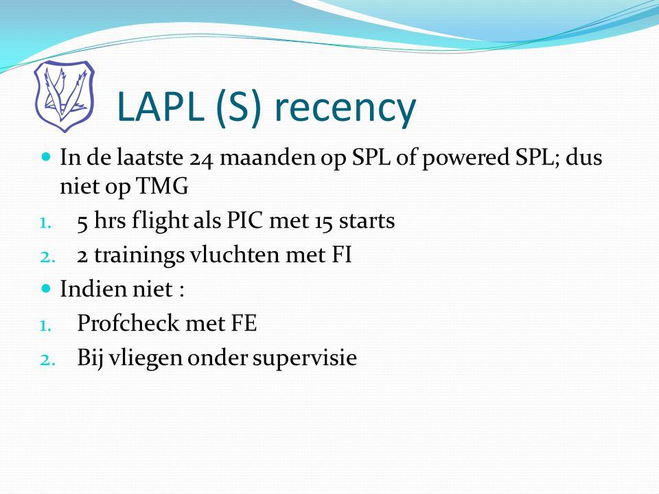 LAPL (S) recency In de laatste 24 maanden op SPL of powered SPL; dus niet op TMG. 5 hrs flight als PIC met 15 starts.