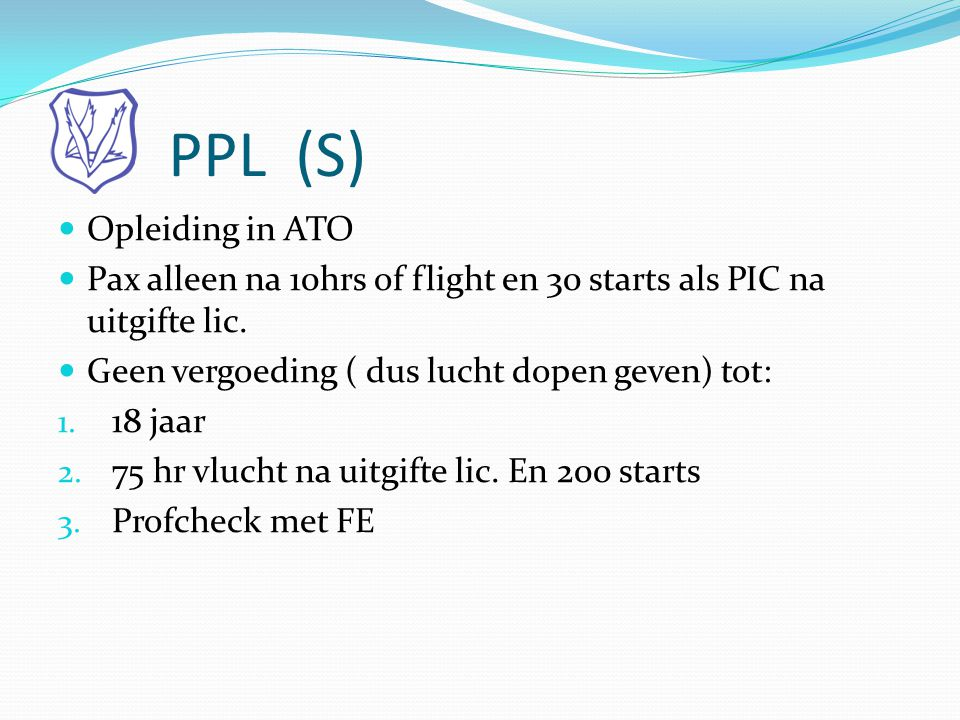 PPL (S) Opleiding in ATO