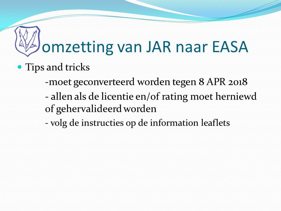 omzetting van JAR naar EASA