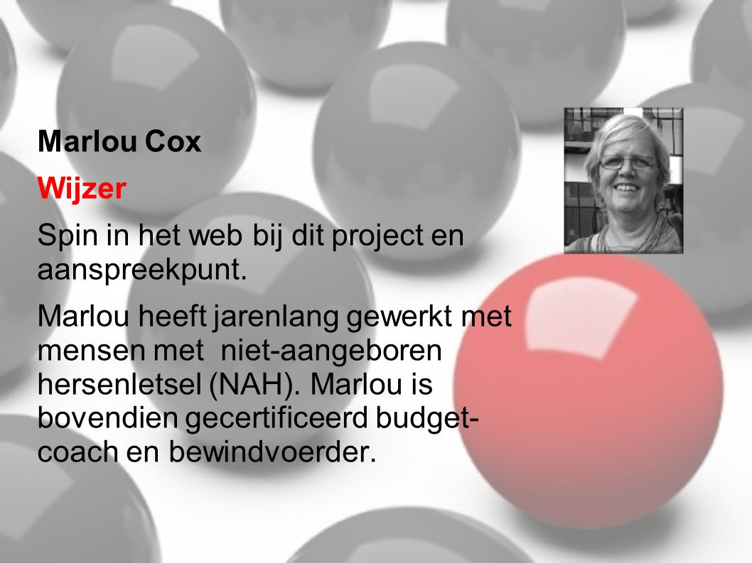 Marlou Cox Wijzer. Spin in het web bij dit project en aanspreekpunt.