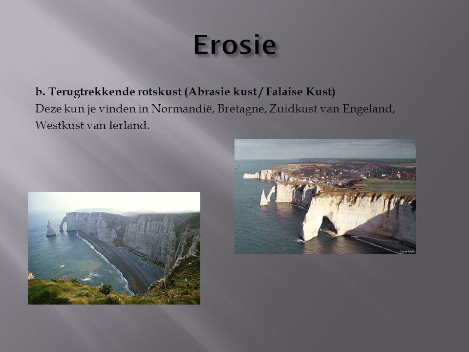 Erosie b. Terugtrekkende rotskust (Abrasie kust / Falaise Kust)