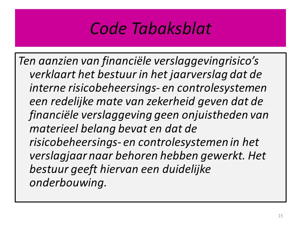Code Tabaksblat