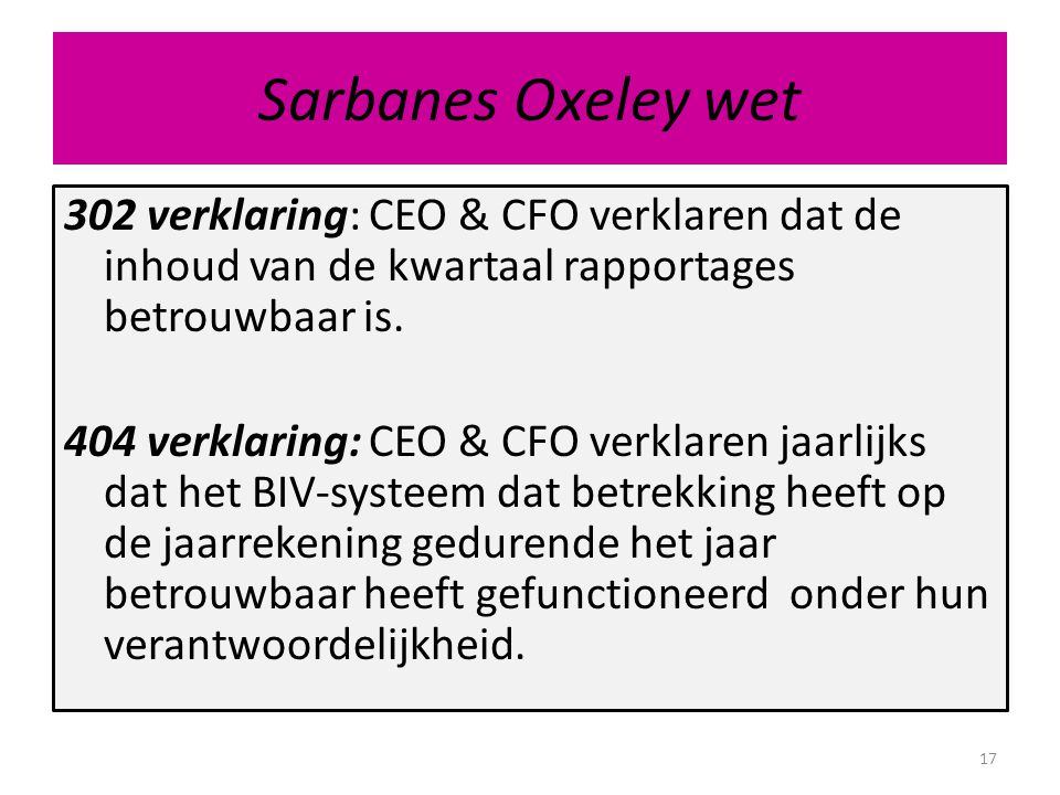 Sarbanes Oxeley wet