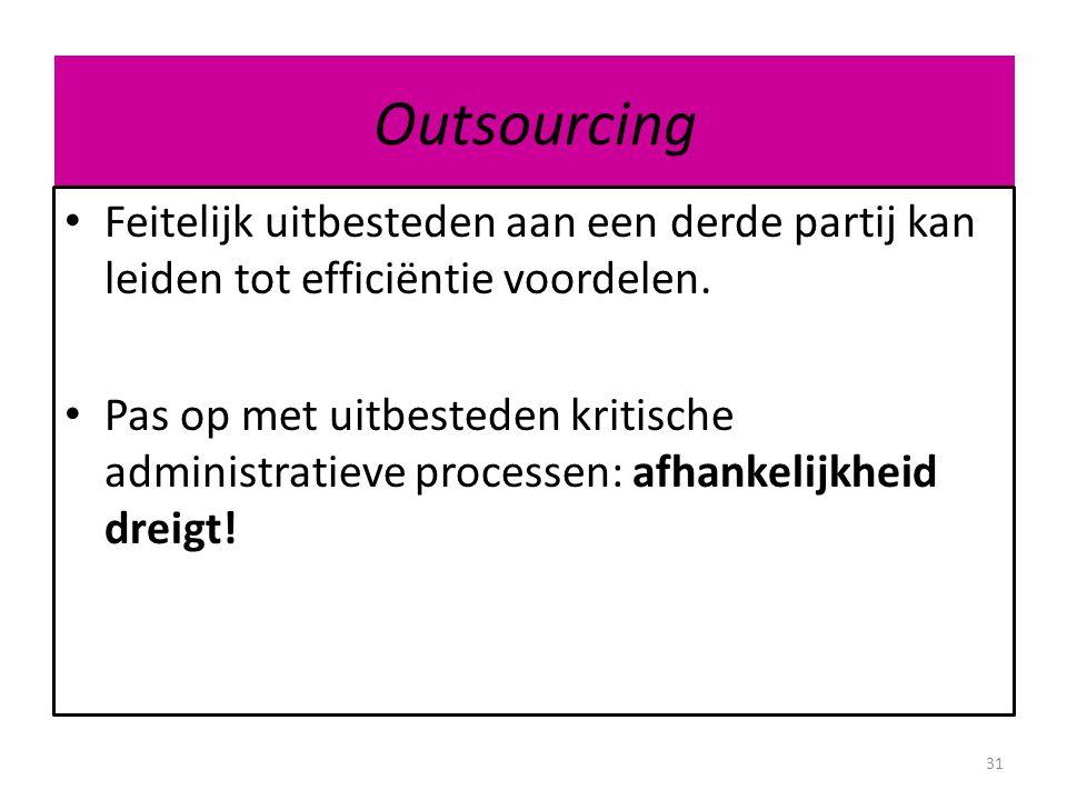 Outsourcing Feitelijk uitbesteden aan een derde partij kan leiden tot efficiëntie voordelen.