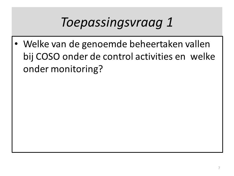 Toepassingsvraag 1 Welke van de genoemde beheertaken vallen bij COSO onder de control activities en welke onder monitoring