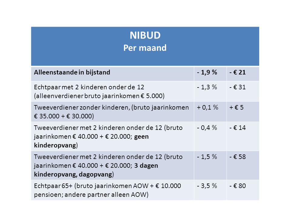 NIBUD Per maand Alleenstaande in bijstand - 1,9 % - € 21