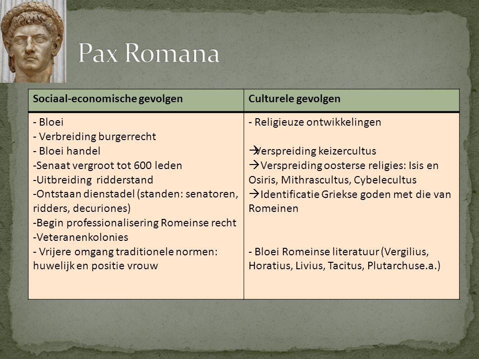 Pax Romana Sociaal-economische gevolgen Culturele gevolgen Bloei