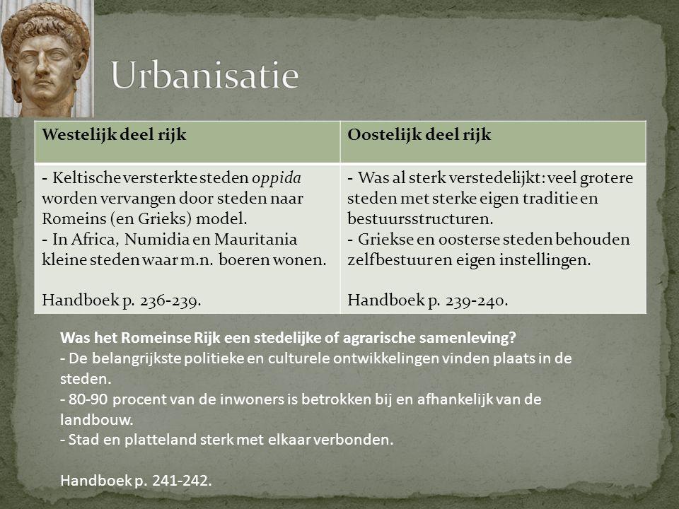 Urbanisatie Westelijk deel rijk Oostelijk deel rijk