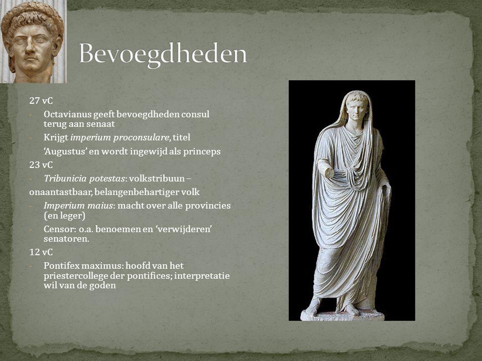 Bevoegdheden 27 vC. Octavianus geeft bevoegdheden consul terug aan senaat. Krijgt imperium proconsulare, titel.