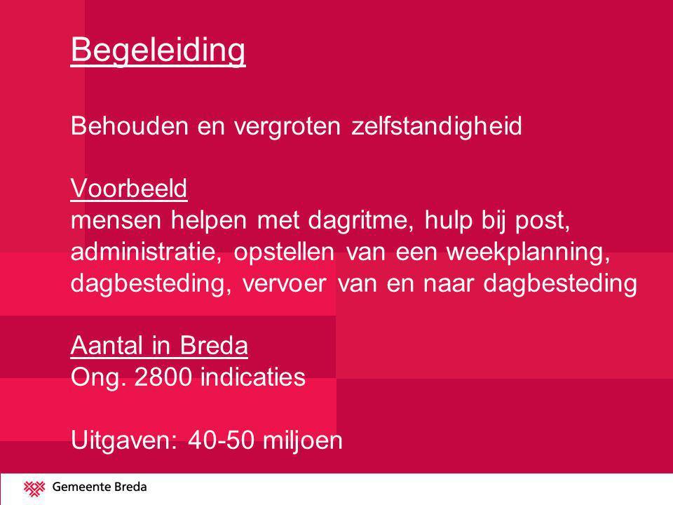 Begeleiding Behouden en vergroten zelfstandigheid Voorbeeld mensen helpen met dagritme, hulp bij post, administratie, opstellen van een weekplanning, dagbesteding, vervoer van en naar dagbesteding Aantal in Breda Ong.