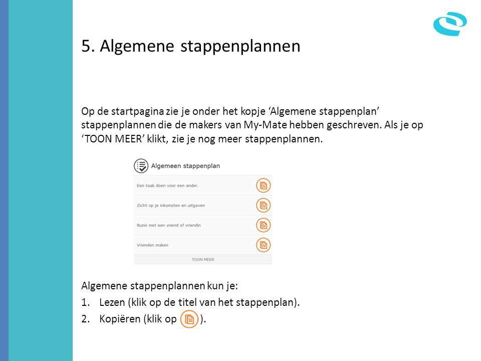 5. Algemene stappenplannen