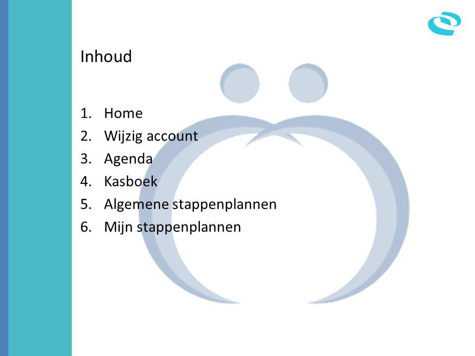 Inhoud Home Wijzig account Agenda Kasboek Algemene stappenplannen