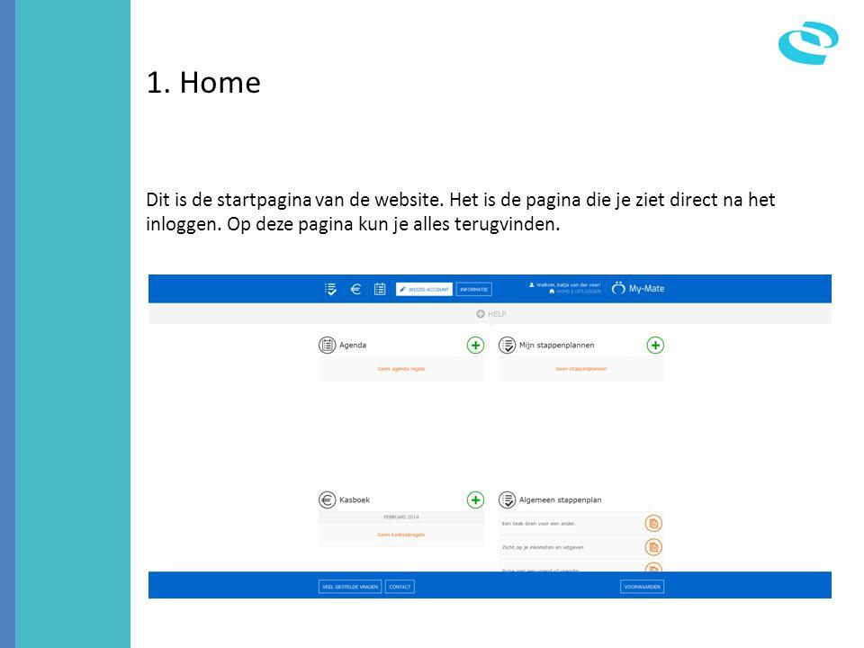 1. Home Dit is de startpagina van de website. Het is de pagina die je ziet direct na het inloggen.