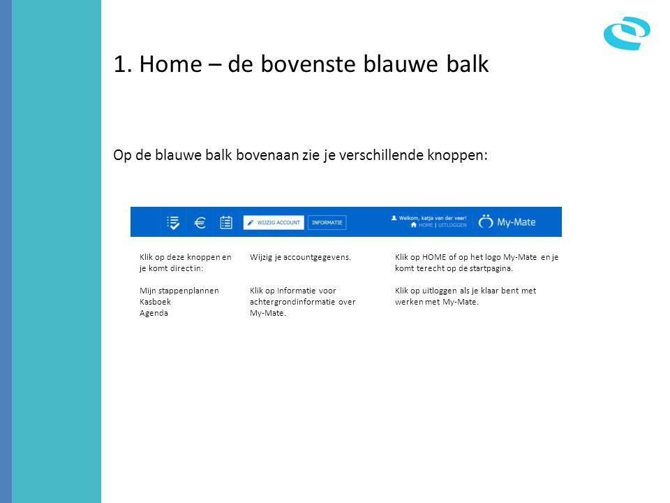 1. Home – de bovenste blauwe balk