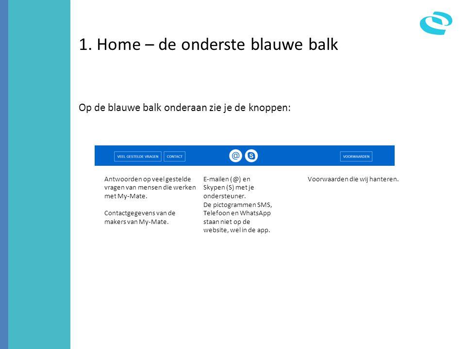 1. Home – de onderste blauwe balk