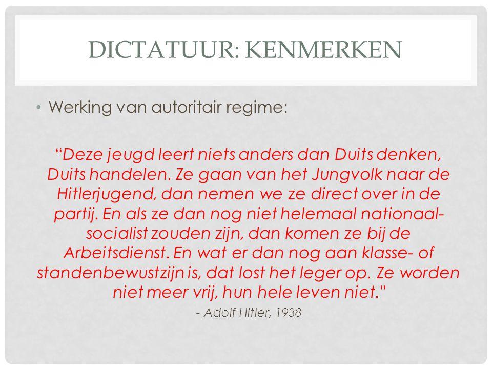 Dictatuur: kenmerken Werking van autoritair regime: