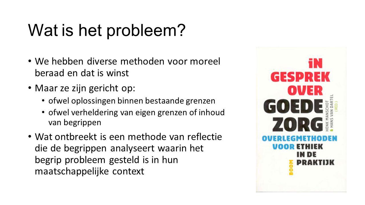 Wat is het probleem We hebben diverse methoden voor moreel beraad en dat is winst. Maar ze zijn gericht op: