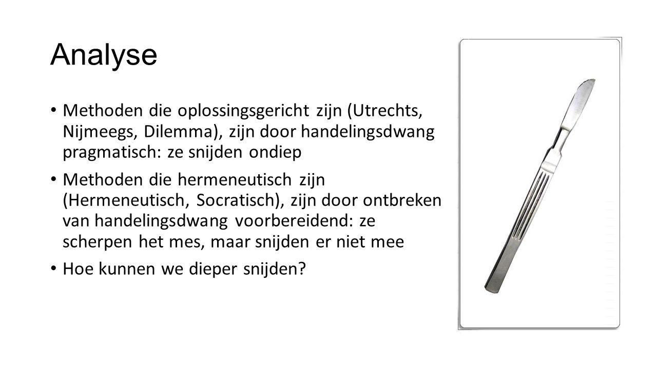 Analyse Methoden die oplossingsgericht zijn (Utrechts, Nijmeegs, Dilemma), zijn door handelingsdwang pragmatisch: ze snijden ondiep.