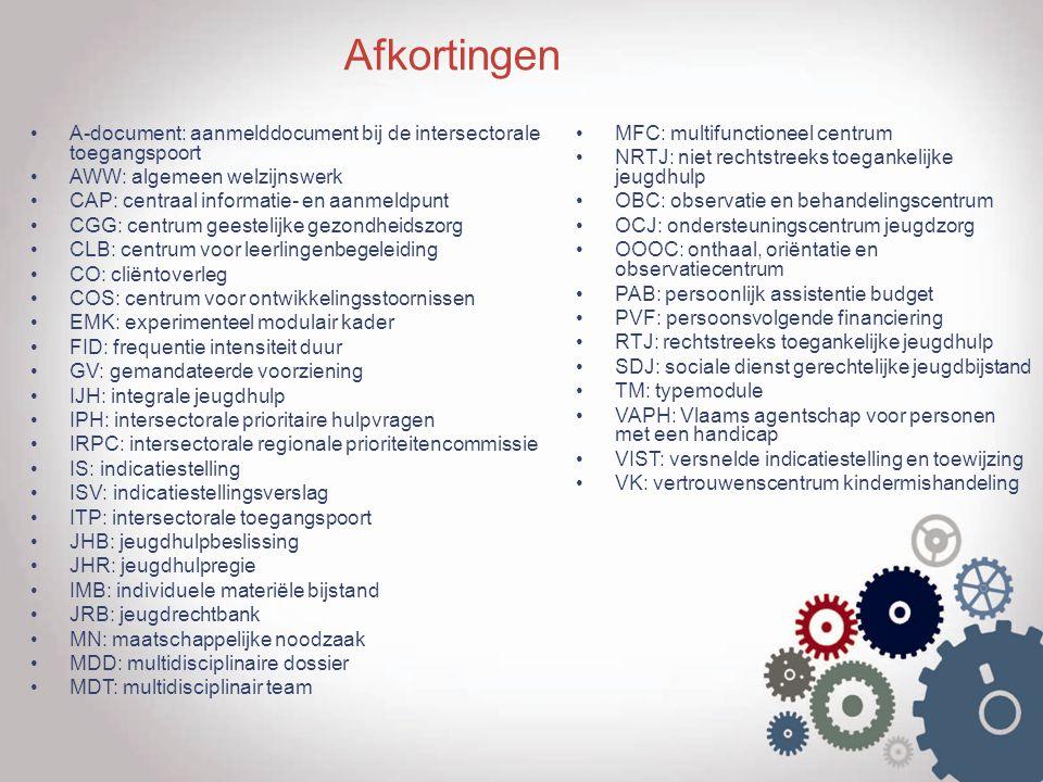 Afkortingen A-document: aanmelddocument bij de intersectorale toegangspoort. AWW: algemeen welzijnswerk.