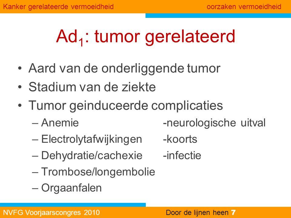 Ad1: tumor gerelateerd Aard van de onderliggende tumor