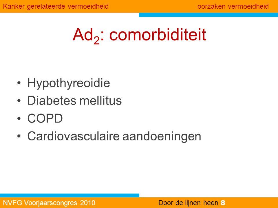Ad2: comorbiditeit Hypothyreoidie Diabetes mellitus COPD