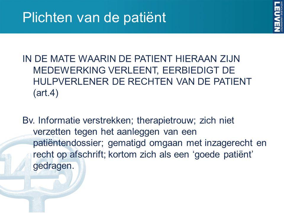Plichten van de patiënt