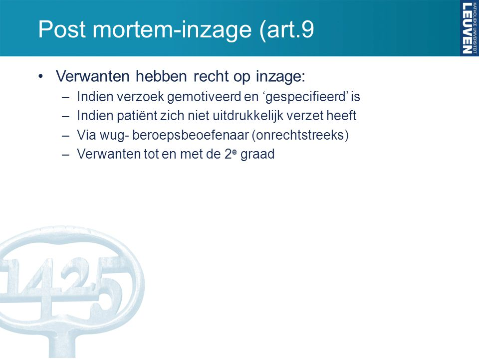 Post mortem-inzage (art.9