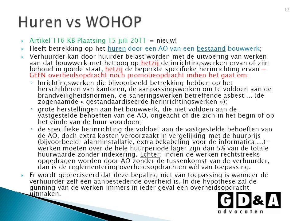 Huren vs WOHOP Artikel 116 KB Plaatsing 15 juli 2011 = nieuw!