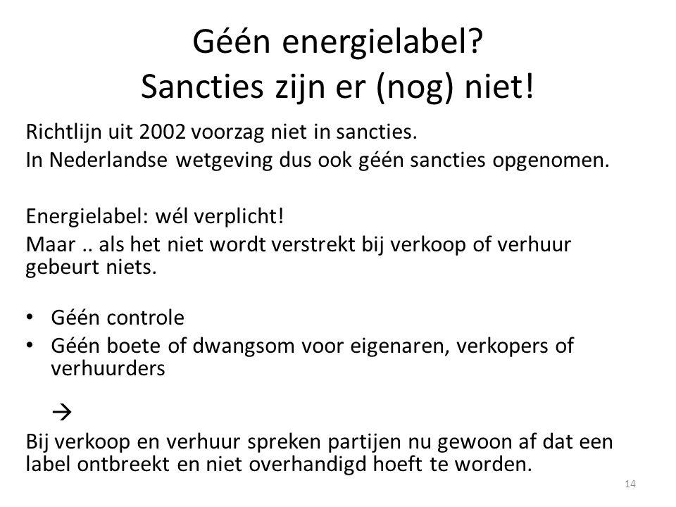 Géén energielabel Sancties zijn er (nog) niet!