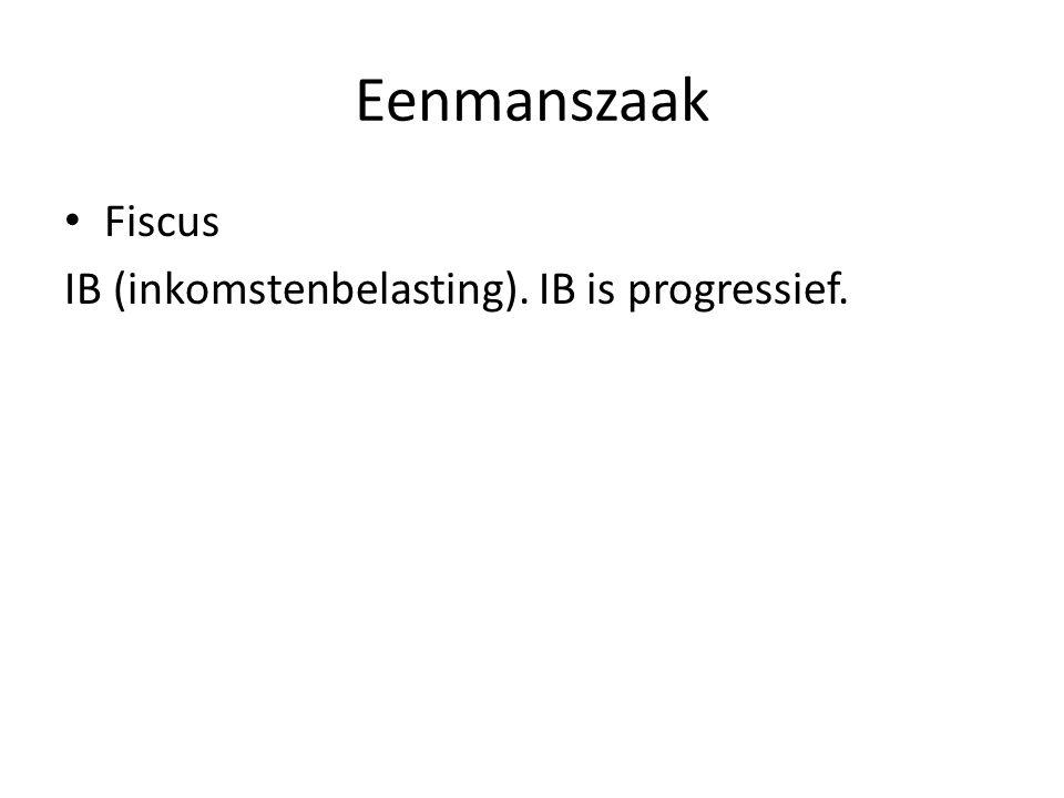 Eenmanszaak Fiscus IB (inkomstenbelasting). IB is progressief.