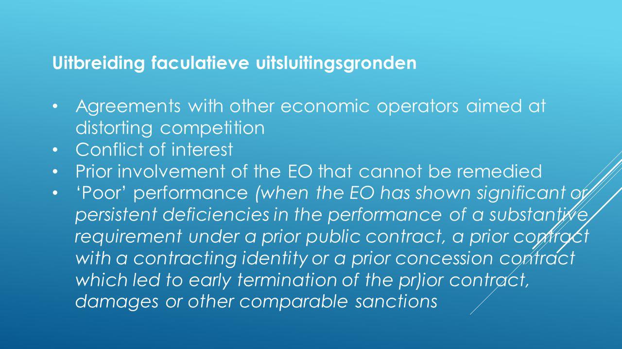 Uitbreiding faculatieve uitsluitingsgronden