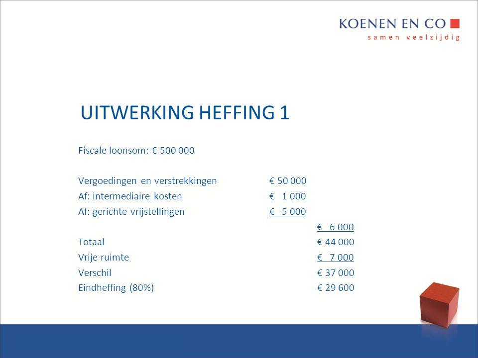 UITWERKING HEFFING 1 Fiscale loonsom: € 500 000