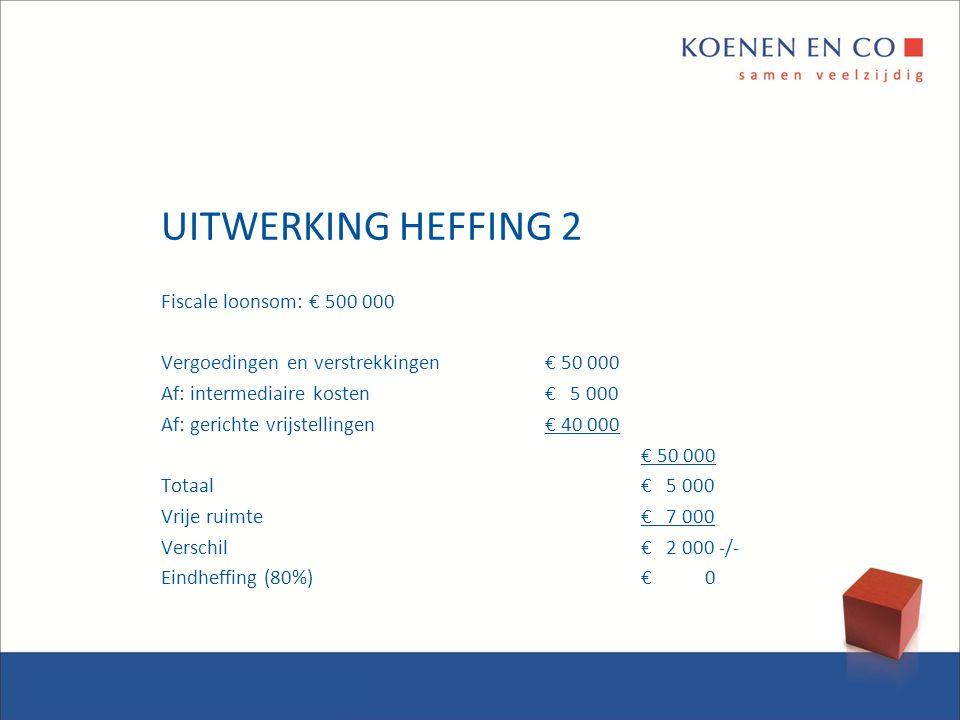 UITWERKING HEFFING 2 Fiscale loonsom: € 500 000