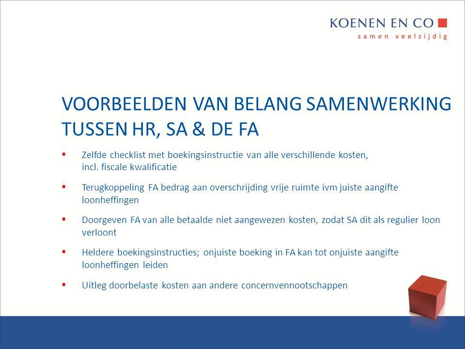 VOORBEELDEN VAN BELANG SAMENWERKING TUSSEN HR, SA & DE FA