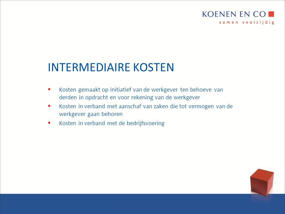 INTERMEDIAIRE KOSTEN Kosten gemaakt op initiatief van de werkgever ten behoeve van derden in opdracht en voor rekening van de werkgever.