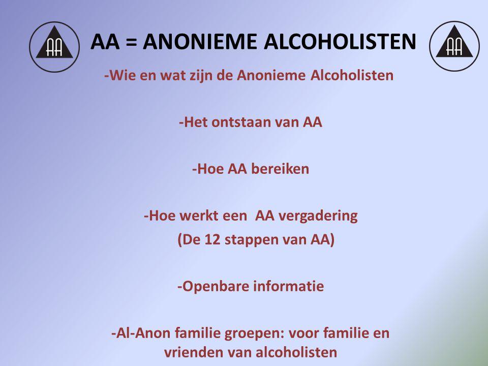 AA = ANONIEME ALCOHOLISTEN