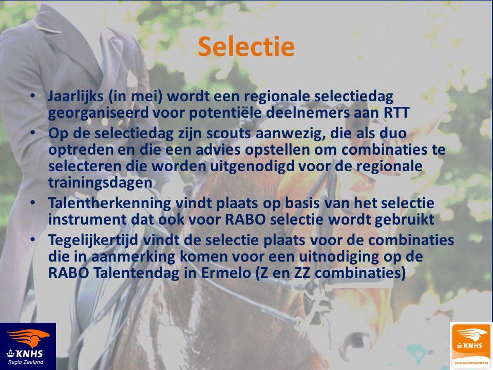 Selectie Jaarlijks (in mei) wordt een regionale selectiedag georganiseerd voor potentiële deelnemers aan RTT.