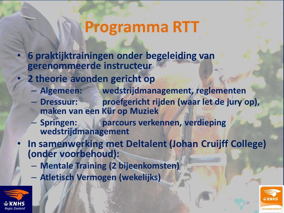 Programma RTT 6 praktijktrainingen onder begeleiding van gerenommeerde instructeur. 2 theorie avonden gericht op.
