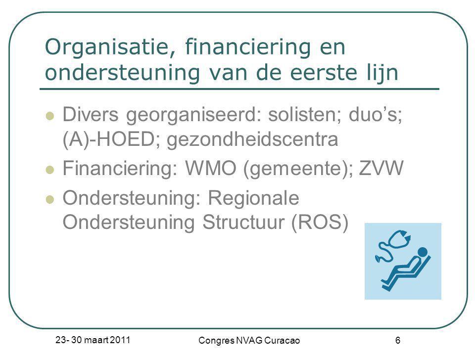 Organisatie, financiering en ondersteuning van de eerste lijn